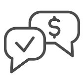 Banknote check dialogue line icon. Accepted mark and dollar buble symbol, outline style pictogram on white background. Money transfer sign for mobile concept and web design. Vector graphics