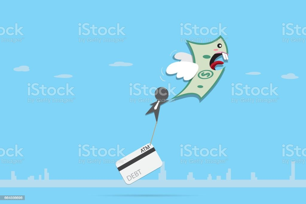 banknote flying with businessman and credit card left behind vector art illustration