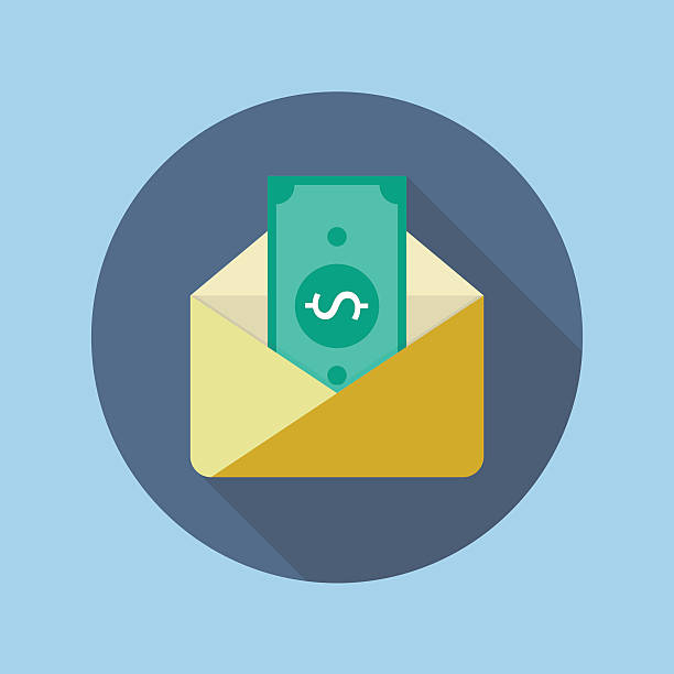 Banknote in yellow paper envelope Banknote in yellow paper envelope. Flat icon with long shadow perks stock illustrations