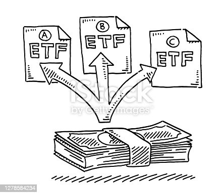 Hand-drawn vector drawing of a Banknote Investment in three different ETF Fonds. Black-and-White sketch on a transparent background (.eps-file). Included files are EPS (v10) and Hi-Res JPG.
