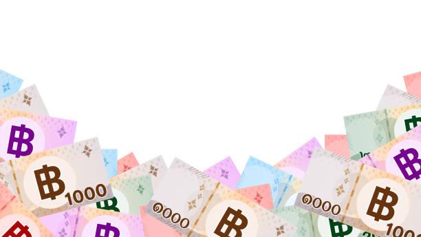 stockillustraties, clipart, cartoons en iconen met bankbiljet geld thaise baht geïsoleerd op wit, thaise munt thb voor achtergrond, geld thailand baht platte stijl in de bovenste weergave, papier geld type met b-symbool afbeelding, illustratie banknota en kopieerruimte - thaise munt