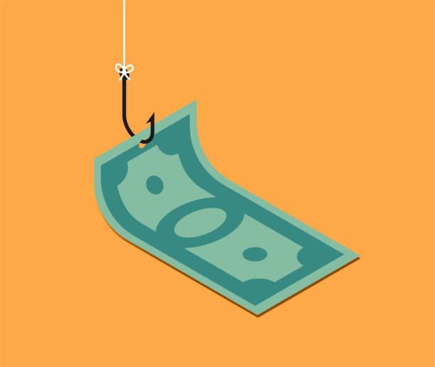ilustrações de stock, clip art, desenhos animados e ícones de banknote on fishing hook over yellow background. scam and phishing concept. vector isometric illustration - corruption