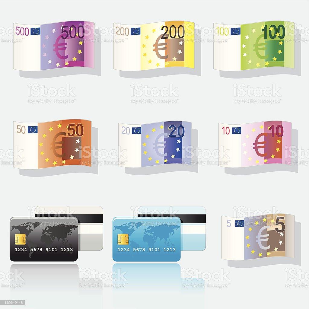 Banknoten und Kreditkarten royalty-free stock vector art