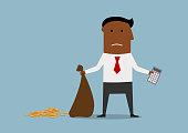 Bankrupt businessman with empty money bag