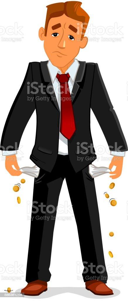 Bankrupt businessman with empty pockets vector art illustration