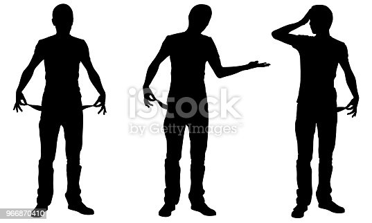 silhouettes of bankrupt men
