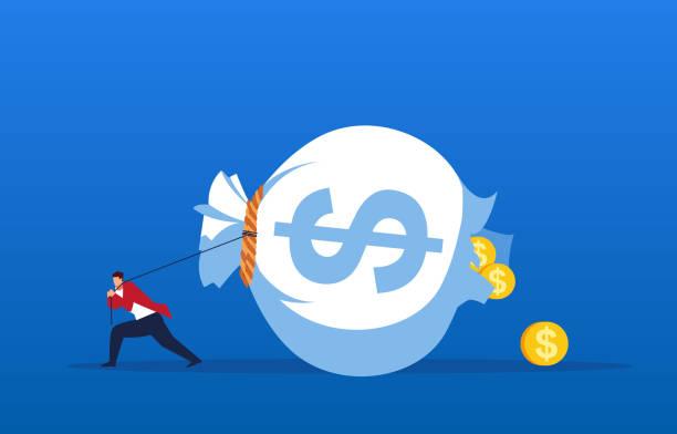 stockillustraties, clipart, cartoons en iconen met failliet, het geld zak getrokken door de zakenman brak - absentie