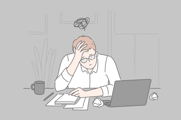 Bankruptcy, burnout, collapse concept. Bankruptcy, burnout, collapse, business concept. Tired frustrated young man businessman in psychological stress at the end of the day in the office. Problems, unsolved cases. Brainstorming. Simple flat vector. mental burnout stock illustrations