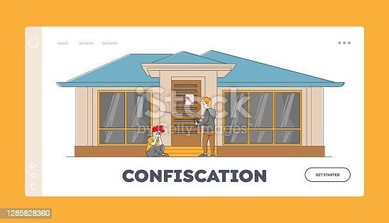 Bankruptcy, Finance Problem Landing Page Template. Frustrated, Disappointed Female Character Crying front of Home Door. Bailiff Sealing House with Chain and Lock. Linear People Vector Illustration