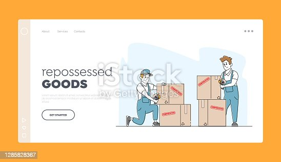 Bankruptcy, Financial Problems, Economy Crisis, Seizure, Confiscation Landing Page Template. Bailiff Male Characters in Blue Working Robe Seal Boxes with Property. Linear People Vector Illustration