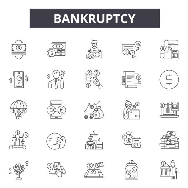 ilustraciones, imágenes clip art, dibujos animados e iconos de stock de iconos de línea de bancarrota para diseño web y móvil. signos de trazo editables. las ilustraciones conceptuales de bancarrota - bancarrota