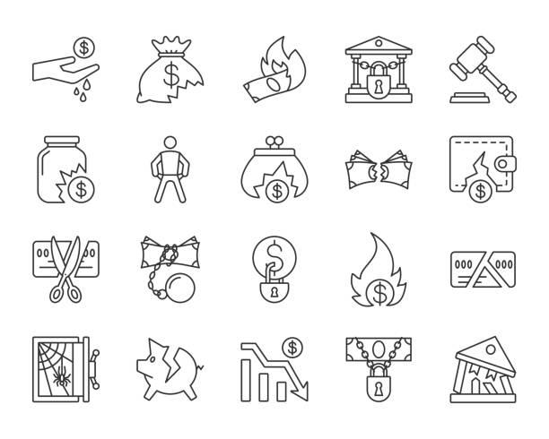 ilustraciones, imágenes clip art, dibujos animados e iconos de stock de bancarrota simple línea negra los iconos vector set - bancarrota