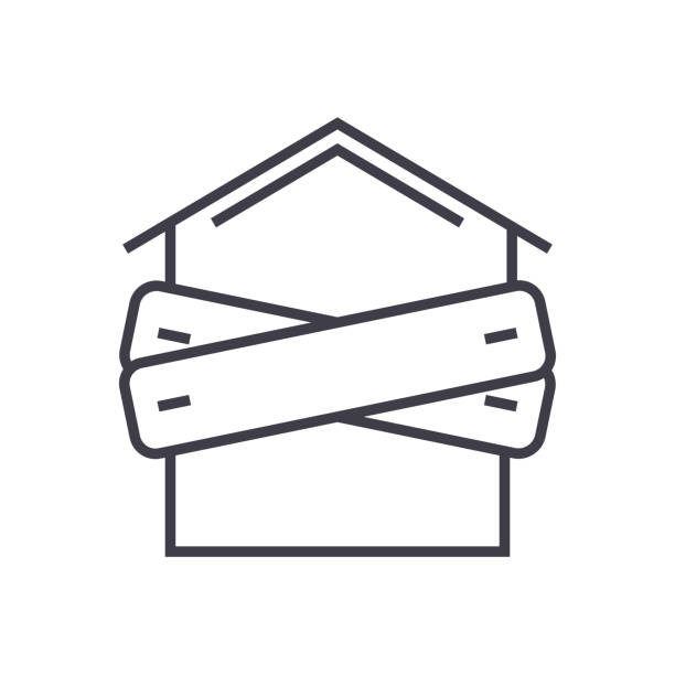 faillite, sont montés à bord-up maison vecteur ligne icône, du signe, illustration sur fond, traits modifiables - Illustration vectorielle