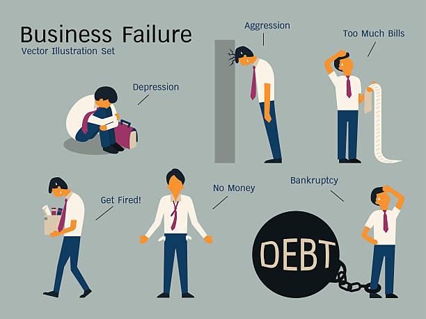 bankruptcyset - unemployment stock illustrations
