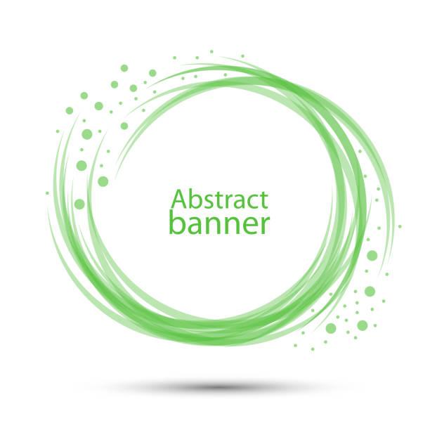 橫幅抽象向量圓形透明綠色向量藝術插圖