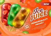 Realistic Banner Advertising Ice Juice on Stick Popsicle. Different Tastes. Premium Quality Product with Orange, Strawberry and Kiwi Fruits Slices. GMO Free, Fresh Dessert. Vector 3d Text Illustration