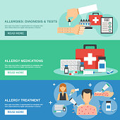 Allergy horizontal banner set with diagnosis and tests elements isolated vector illustration