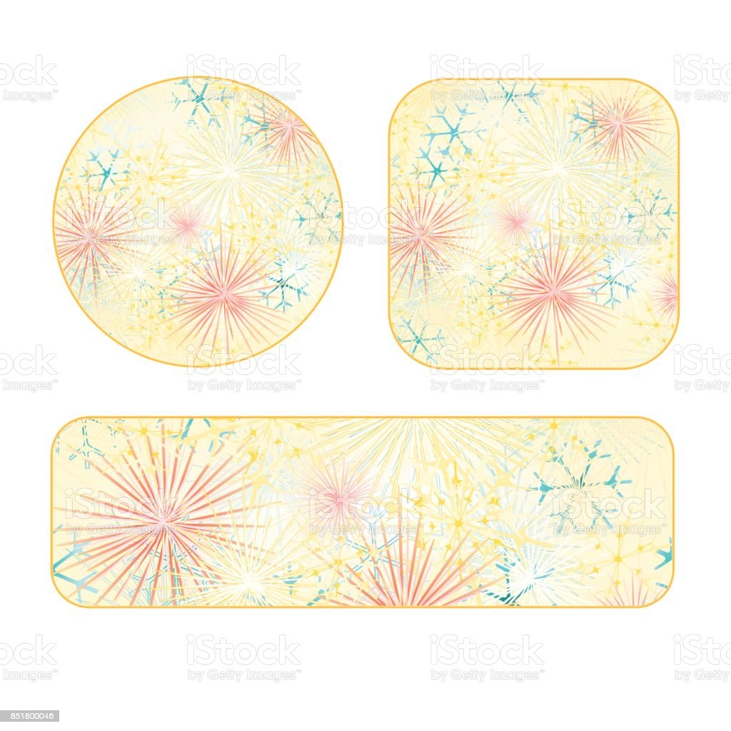 banner and buttons circle square new year fireworks colored background vintage vector illustration editable royalty