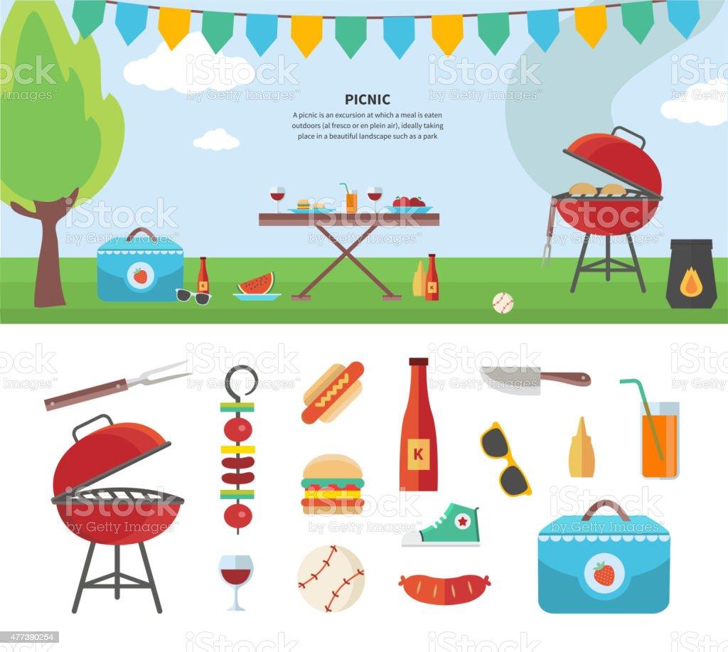 Banner und Symbole der Picknick-Artikel. Urlaub-Konzept – Vektorgrafik