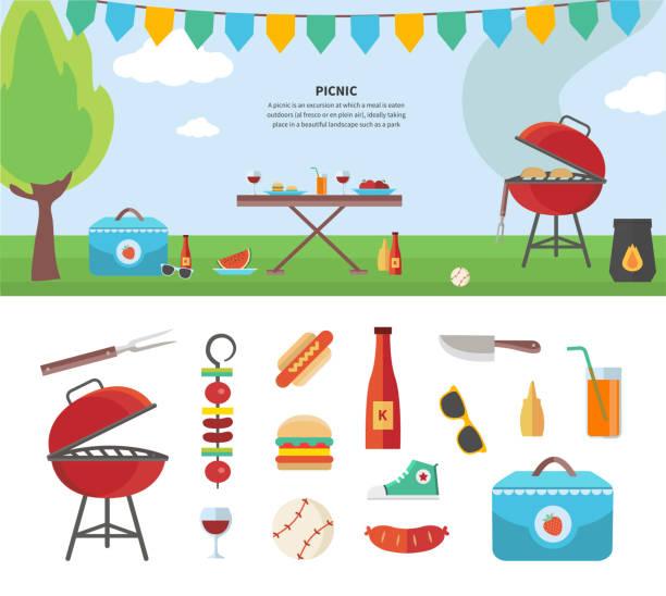 bildbanksillustrationer, clip art samt tecknat material och ikoner med banner and icons of picnic items. holiday concept - vin sommar fest