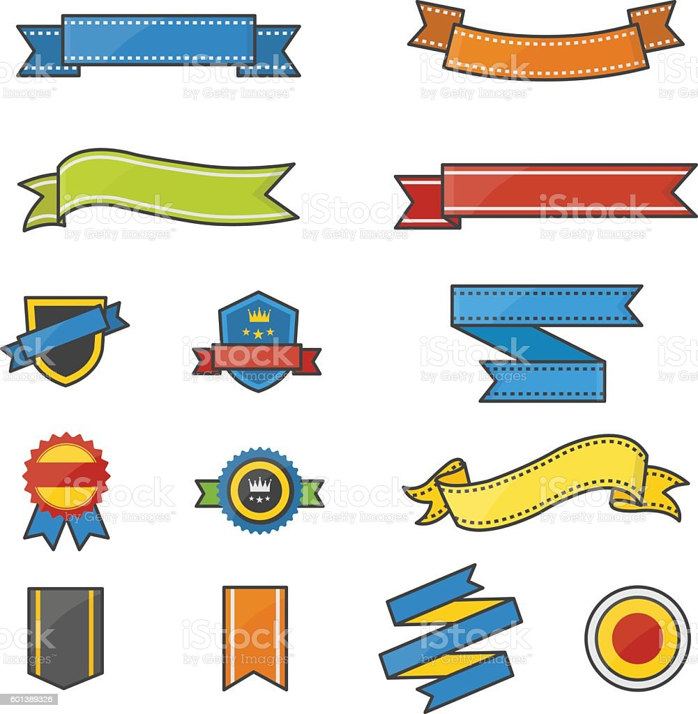 banner and ribbon color icons set of vector illustration お祝いの