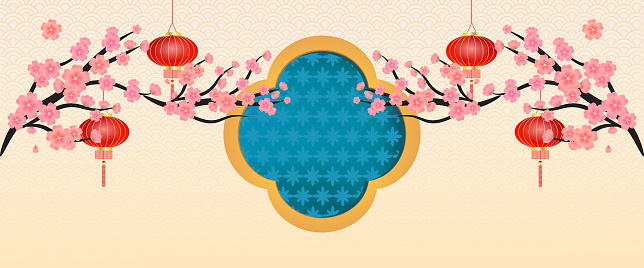 Banner Asian elements with craft style flower and lamp of vector.