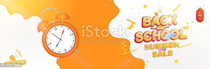 istock Banner Back to School. Summer Sale 50% Text effect with a paper airplane and a loudspeaker. Festive poster on the background with alarm clock and light effects. Flat Vector Illustration EPS10 1165919939