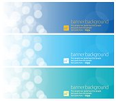 Vector of 3 banner design with defocused decoration items.