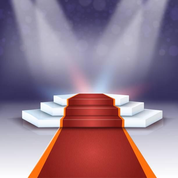 banner schöne podium mit roten teppich realistisch. - teppichplatzierung stock-grafiken, -clipart, -cartoons und -symbole