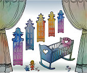 banner big baby house cutrain waterc