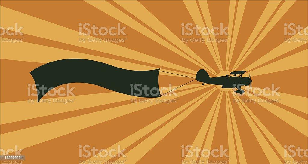 Banner Biplane Background - Air Travel royalty-free stock vector art