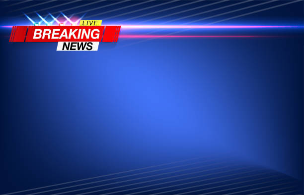 Banner breaking news, important news, headline in the form of flashing lights Banner breaking news, important news, headline in the form of flashing lights police. Vector image. publicité stock illustrations