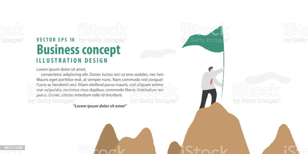 Banner Businessman Holding Flag On The Mountain Meaning Success On