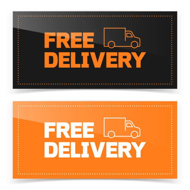 illustrations, cliparts, dessins animés et icônes de bannière design bouton avec icône van livraison gratuite - gratuit