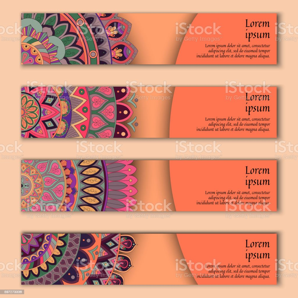 Banner card set with floral colorful decorative mandala elements background. royalty-free banner card set with floral colorful decorative mandala elements background stock vector art & more images of abstract