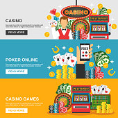Casino horizontal banners set with poker online symbols flat isolated vector illustration