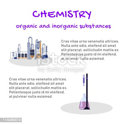 Banner Chemistry Organic and Inorganic Substances. Study Structure, Reactivity and Properties Chemical Elements and their Inorganic Compounds. Vector Illustration on White Background.