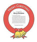 Banner Christmas ribbon and bell  illustration vector on white background. Merry christmas concept.