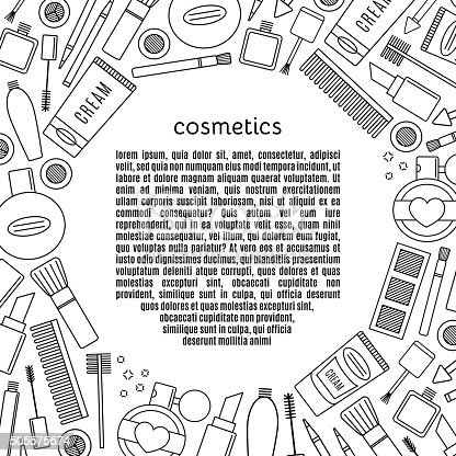 Banner circle make up and cosmetics vector set. background fashion