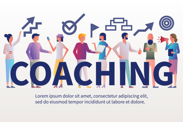 Banner coaching. Businesswoman coach leader presenting business project Banner coaching. Businesswoman coach leader presenting business project. Discussing corporate plan. Company training. Vector illustration flat design. Meeting in boardroom. coach stock illustrations