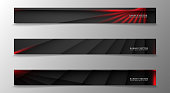 Banner collection, vector background with glowing neon red stripes in a dark room.