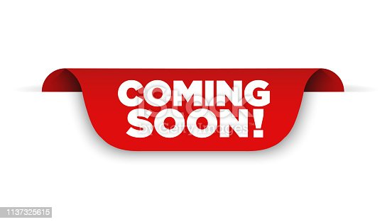istock Banner Coming soon. Vector ribbon banner 1137325615