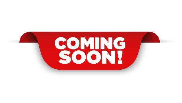 ilustrações de stock, clip art, desenhos animados e ícones de banner coming soon. vector ribbon banner - faixa sinal