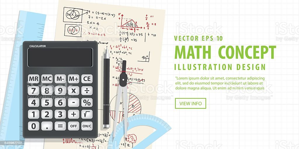 Banner Computational Mathematics With Calculators And Accessories on Mathematical formula. vector art illustration