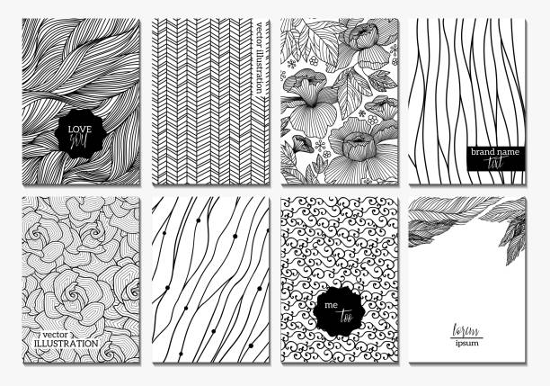 banner creative cards - black and white pattern stock illustrations, clip art, cartoons, & icons