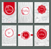 Flowers creative cards template. Elegant design for cafe restaurant heraldic jewelry fashion.