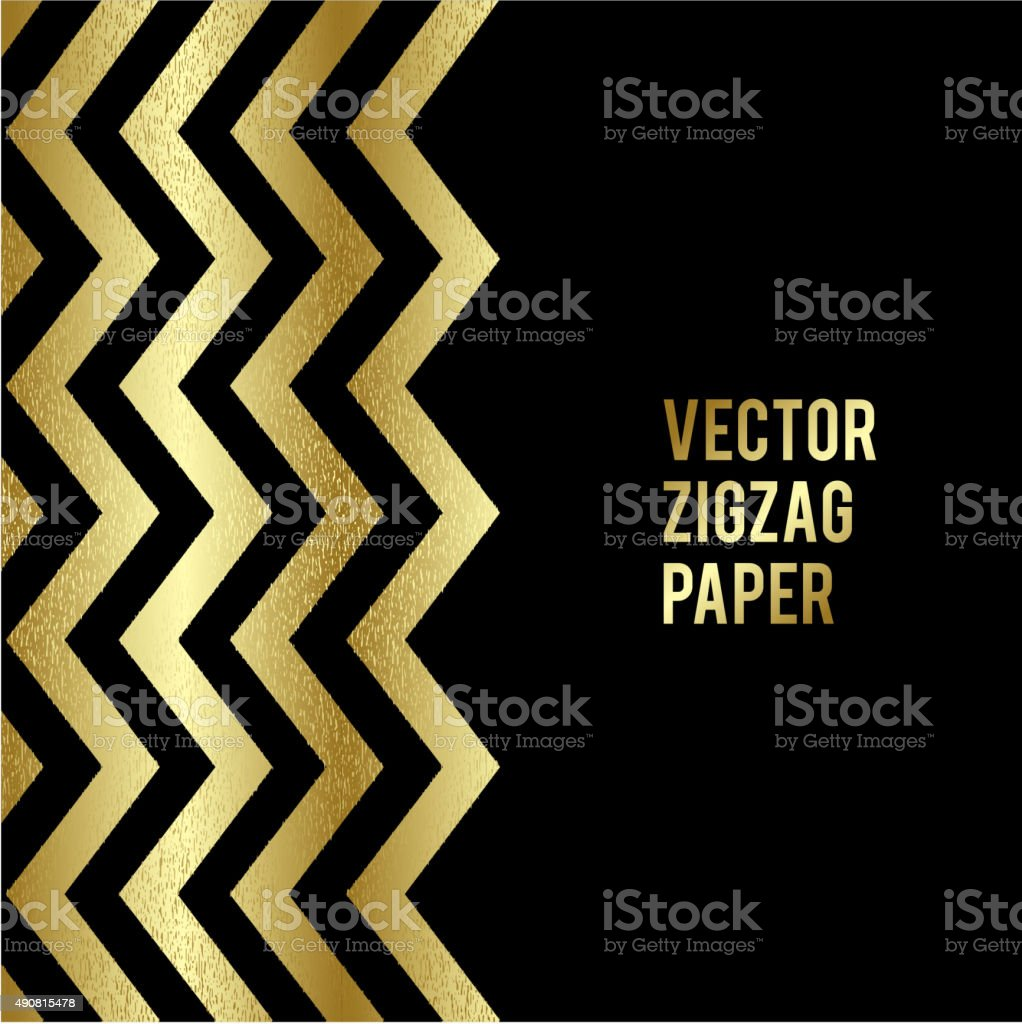 Banner design. Abstract template background with gold zigzag shapes vector art illustration