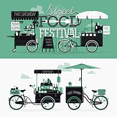 Banner design elements on Street food festival event
