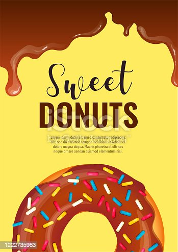 Banner design for Donut Shop, Sweet products, Bakery, Confectionery, Dessert, Breakfast. Donut and hot chocolate.