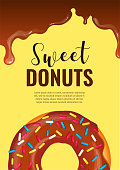Banner design for Donut Shop, Sweet products, Bakery, Confectionery, Dessert, Breakfast. Donut and hot chocolate. A4 vector illustration for poster, banner, flyer, commercial, menu.